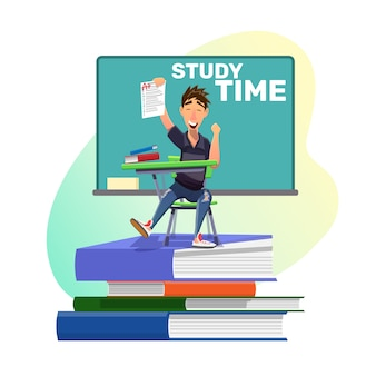 Estudante de sucesso feliz com melhor nota para tarefa