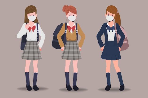 Estudante de volta às aulas com o novo conceito normal.