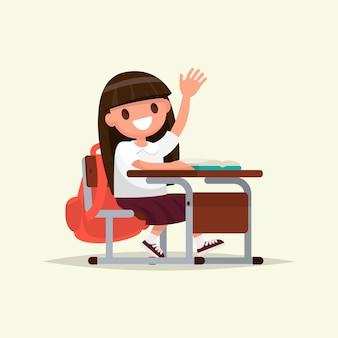 Estudante do ensino fundamental. uma estudante levanta a mão para responder.