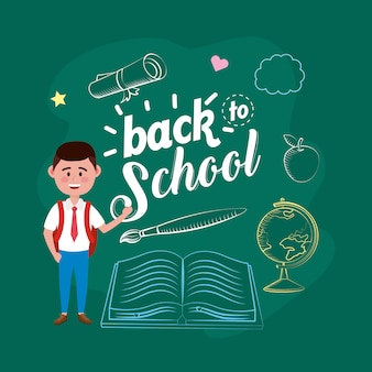 Estudante do menino com mochila e livro com pinceladas