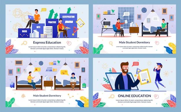 Estudante do sexo masculino dormitório, educação on-line, plana.