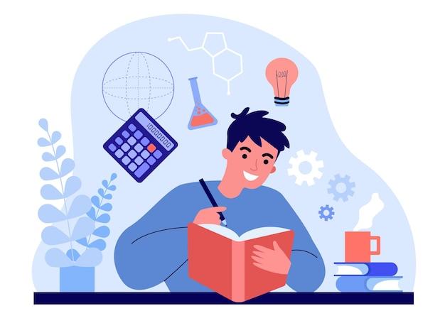 Estudante do sexo masculino, estudando ciências do livro. homem aprendendo experimentos em química, ilustração vetorial plana de fórmulas. escola, conceito de educação universitária para banner, design do site ou página inicial da web