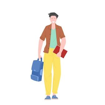 Estudante do sexo masculino ou estudante andando segurando livros e ilustração vetorial plana de mochila.