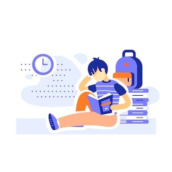 Estudante do sexo masculino sentado e lendo livros, programa educacional, aprendizagem de literatura, conceito de alfabetização, menino assíduo, ilustração plana