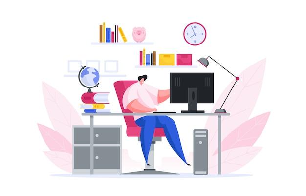 Estudante do sexo masculino usando computador para estudos online em casa