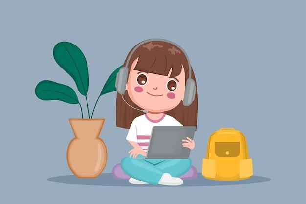 Estudante estudando em casa