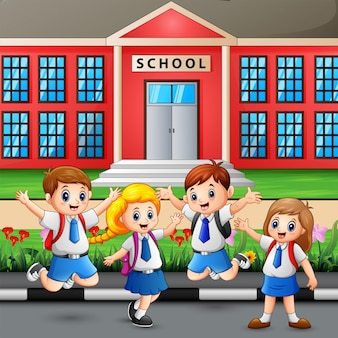 Estudante feliz indo para a escola