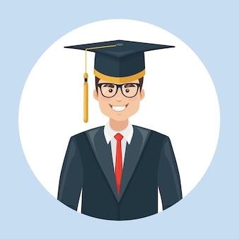 Estudante graduado em chapéu e jaleco de graduação acadêmica