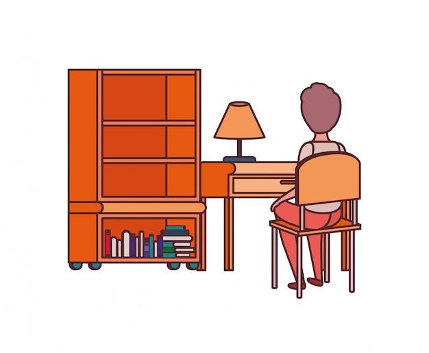 Estudante homem, sentando, em, escrivaninha escolar