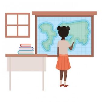 Estudante jovem em sala de aula de geografia