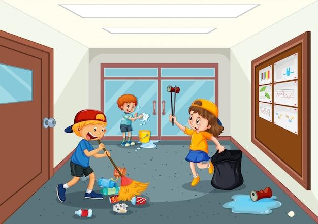Estudante, limpeza, escola, corredor