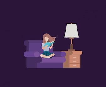 Estudante menina sentada lendo livro na sala de visitas