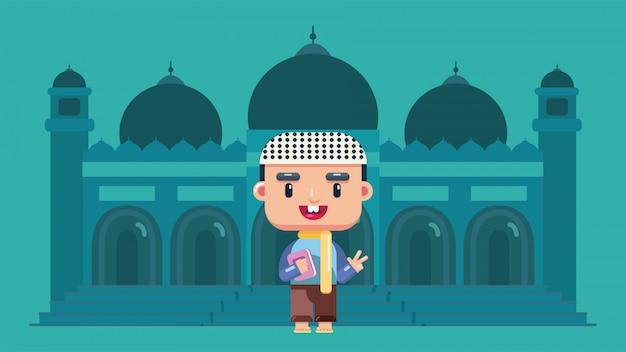 Estudante muçulmano aprende no internato islâmico