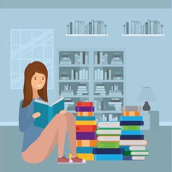 Estudante mulher lendo o personagem do livro