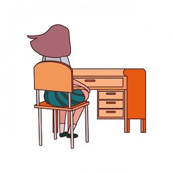 Estudante mulher, sentando, em, escrivaninha escolar