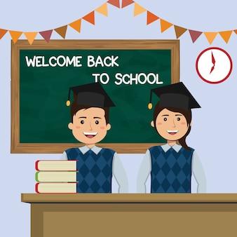 Estudante na aula de boas-vindas de volta à escola