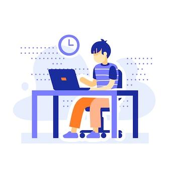 Estudante na mesa atrás do computador