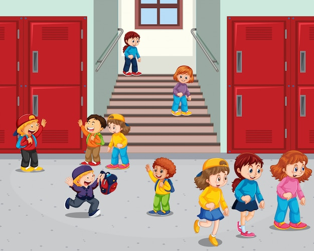 Estudante no corredor da escola