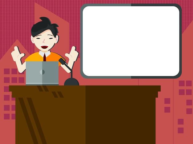 Estudante ou empresário, fazendo uma apresentação com placa de apresentação em branco