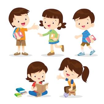 Estudante primário menino e menina
