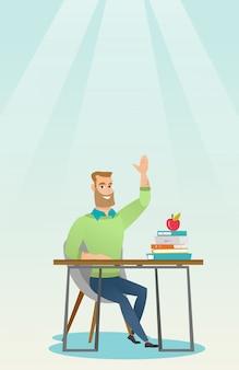 Estudante que levanta a mão na classe para uma resposta.