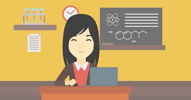 Estudante que trabalha na ilustração do vetor do portátil.