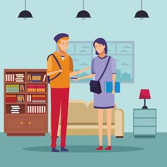 Estudante roupa casal conversa casa
