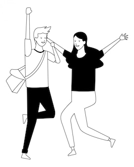 Estudante roupa casal dançando