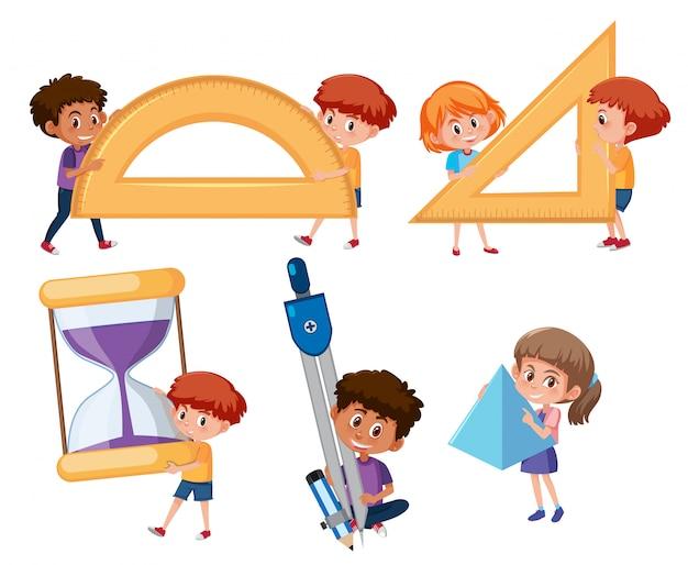 Estudante, segurando, matemática, ferramentas