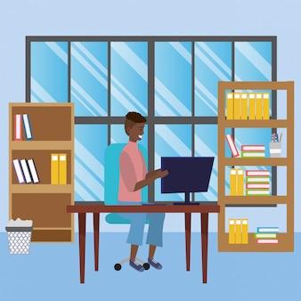 Estudante, sentando, em, biblioteca, escrivaninha, ilustração