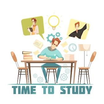Estudante, sentando, tabela