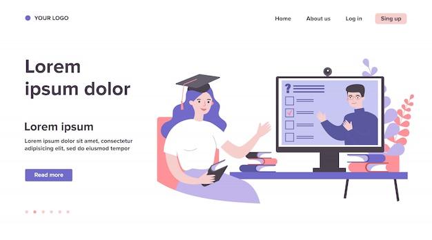 Estudante universitário assistindo online webinar