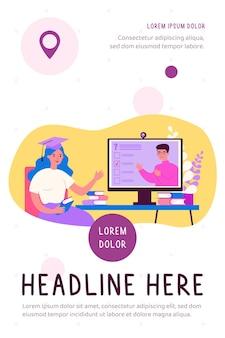 Estudante universitário assistindo webinar online