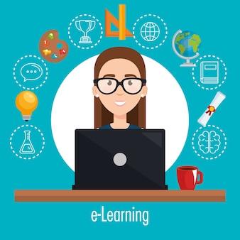 Estudante usando laptop educação eletrônica
