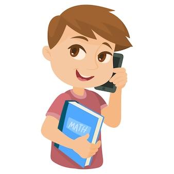 Estudante, usando, um, cellphone
