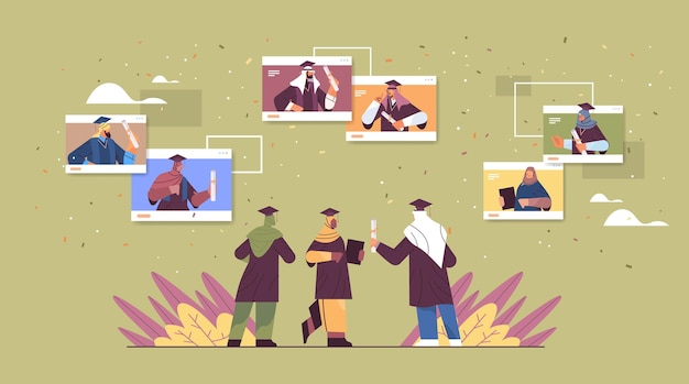 Estudantes árabes formados no navegador da web windowsarabic graduados comemorando diploma acadêmico