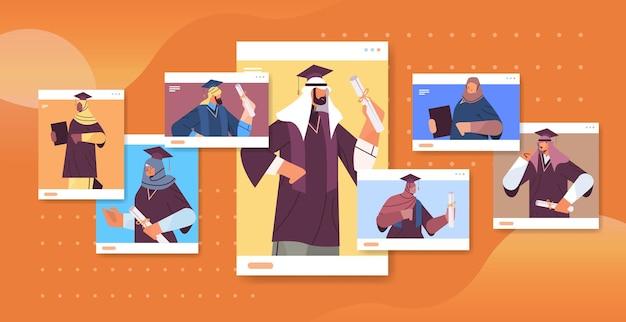 Estudantes árabes graduados no navegador da web graduados árabes celebrando diploma acadêmico educação universitária certificado conceito ilustração vetorial retrato horizontal