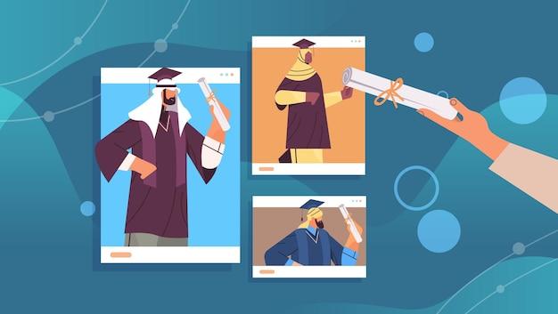 Estudantes árabes graduados no navegador da web graduados árabes comemorando diploma acadêmico grau educação universidade certificado conceito ilustração vetorial horizontal