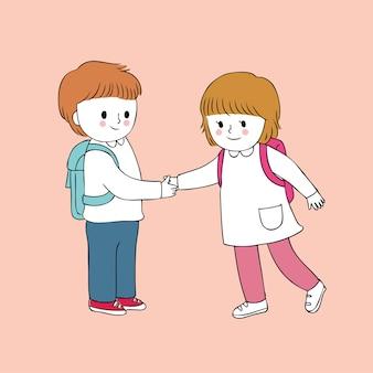 Estudantes bonitos dos desenhos animados que cumprimentam o vetor.