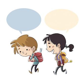 Estudantes crianças, andar escola