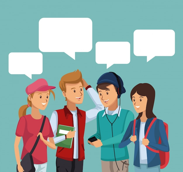 Estudantes de grupos de cenários coloridos conversando com caixas de diálogo