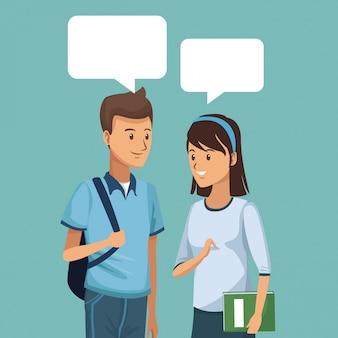 Estudantes de meio corpo casal conversando com caixas de diálogo