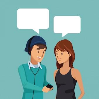 Estudantes de meio corpo par conversando com caixas de diálogo