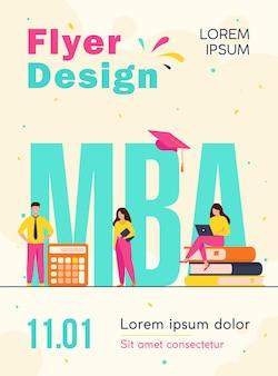 Estudantes de pós-graduação estudando administração e gestão de empresas, obtendo modelo de folheto de mestrado