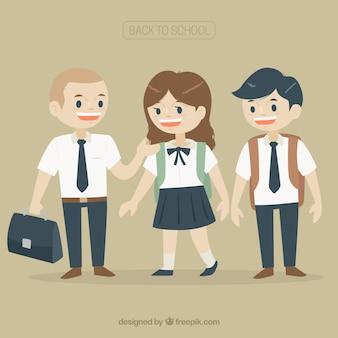 Estudantes de smiley planos vestindo uniforme