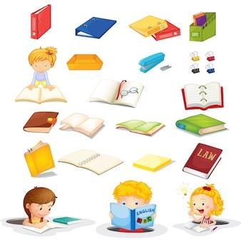 Estudantes e seus materiais escolares