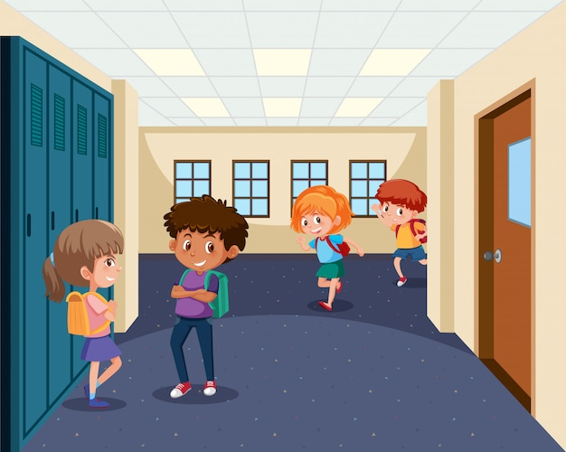 Estudantes, em, corredor escola