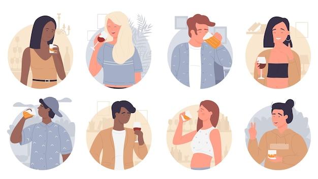 Estudantes jovens que bebem álcool diferente conjunto isolado no branco