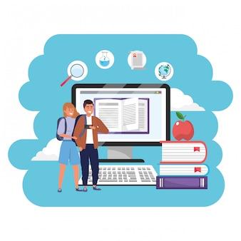 Estudantes milenares de educação on-line