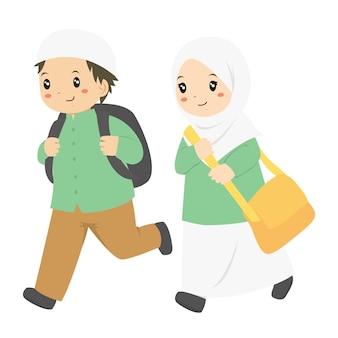 Estudantes muçulmanos correndo para a escola